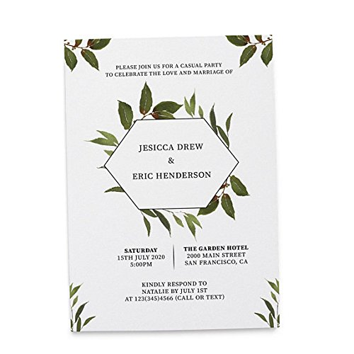 Flat Card Wedding Announcement Invitation, Post Wedding Party Celebration, Marriage Announcement, Celebrate our Wedding Day, Green Wreath Design, Customizable, Personalized, Set of 20 ()