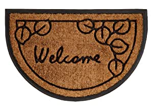 Welcome Leaf Half Round - Super Heavy Duty Outdoor Premium Coir and Rubber Brush Mat 18x27 by Iron Gate - Extremely durable with strong rubber backing - Grips the ground and prevents skidding - Traps dust - Welcome your guests with this high quality doormat