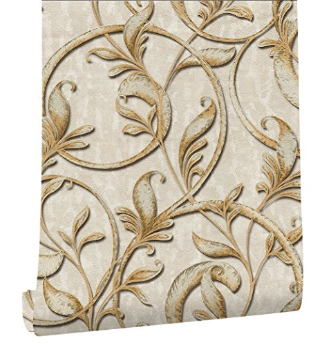 - HaokHome 3162 Embossed Texture Damask Wallpaper Mushroom/Antique Gold for Home Wall Decor 20.8