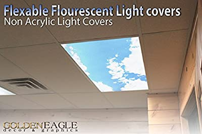 Sky Clouds - 2ft x 4ft Drop Ceiling Fluorescent Decorative Ceiling Light Cover Skylight Film