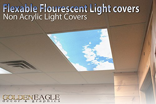 Sky Clouds - 2ft x 4ft Drop Ceiling Fluorescent Decorative Ceiling Light Cover Skylight Film - Sky Panel