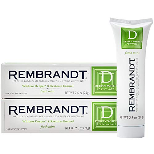 (Rembrandt Deeply White + Peroxide Whitening Toothpaste 2.6 oz, 2 Pack, Fresh Mint Flavor)