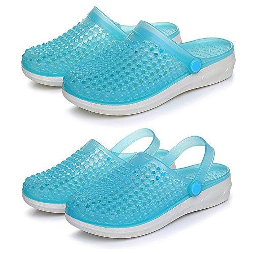 Moitié Sandales Femme Chaussures Épais Fond De Eastlion Gelée Bleu Plage D'été Pente Eastlion Pantoufles Trou xY1YZaqBTw