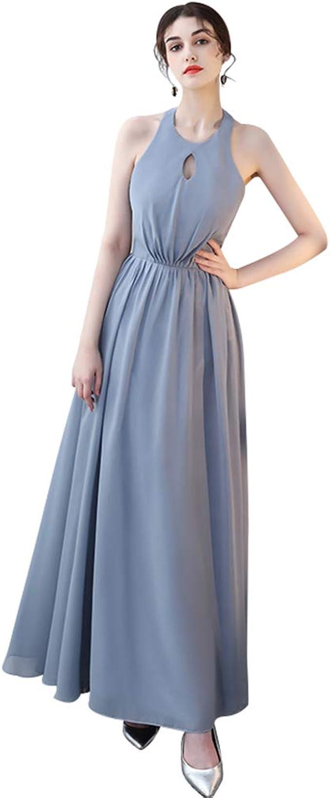 Hochzeit Brautjungfer Kleid Grau Blau Langes Abendkleid Ailin Home Farbe Gray Blue Grosse Xxl Amazon De Bekleidung