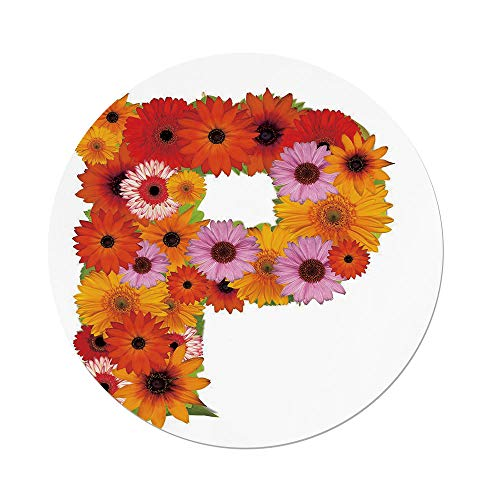 Daisy Gerbera Balloons (iPrint Polyester Round Tablecloth,Letter P,Flower Arrangement Gerbera Daisies Colorful Palette Alphabet P Symbol Print Decorative,Multicolor,Dining Room Kitchen Picnic Table Cloth Cover Outdoor Ind)