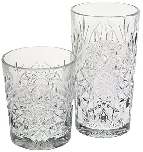 Libbey Hobstar 8-Pc Beverage Set, Open Stock, 12 oz Double Old Fashion & 16 oz Cooler Glasses by Libbey