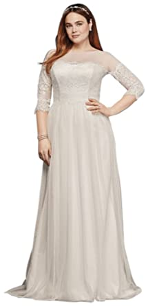 Davids Bridal Plus Size Wedding Dress With Lace Sleeves Style 9WG3817 White