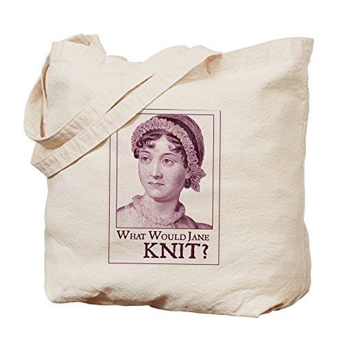 CafePress–Jane Austen Knit–Borsa di tela naturale, panno borsa per la spesa