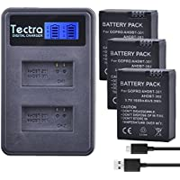 Tectra 3Pcs AHDBT-301 GoPro Hero3 Replacement Battery + LCD Display Dual USB Charger For GoPro Hero 3 Hero 3+ Camera Accessories