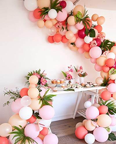 PartyWoo Balloon 100 pcs Latex Balloons Party Balloons Birthday Balloons Party Decorations Party Supplies for Birthday Wedding Graduation Party Christmas Party Baby Shower - Matte Rosy & Macaron Color
