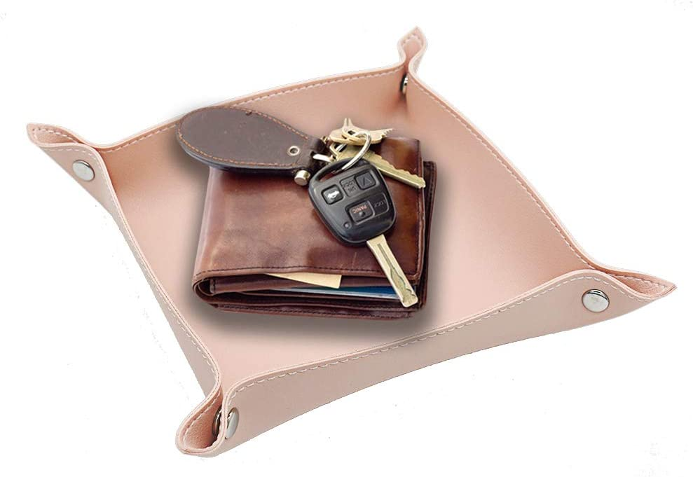 Fosinz Valet Tray Leather Dice Tray Holder Storage Organizer Sundries Jewelry Key Coin Catchall Gadget Phone Wallet Plate Office Home Supplies Stationery Accessories (Pink, 1)