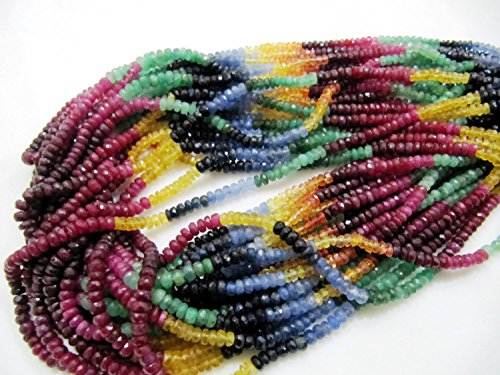 AAA Quality Multi Precious Ruby Emerald Sapphire Beads 3-4 mm, Ruby Emerald Sapphire Rondelle Faceted 8 inch Strand, African Beads