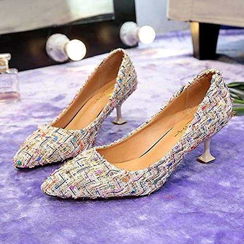 Shoes Heels Basic Beige ZHZNVX Beige Women's Black PU Pump Polyurethane Summer Heel Kitten FCagq