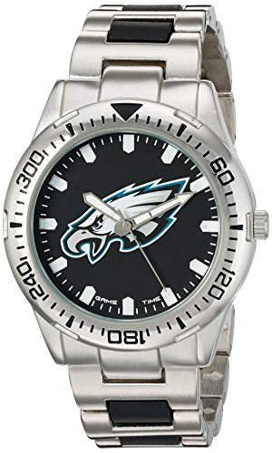 Game Time Men's 'Heavy Hitter'  Metal and Alloy Quartz Analog  Watch, Color:Silver-Toned (Model: NFL-HH-PHI)