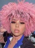 AISI HAIR Short Afro Kinky Curly Wig for Women Pink Color Dark Roots Cosplay Halloween Party Wigs Synthetic Heat Resistant Fiber Wigs
