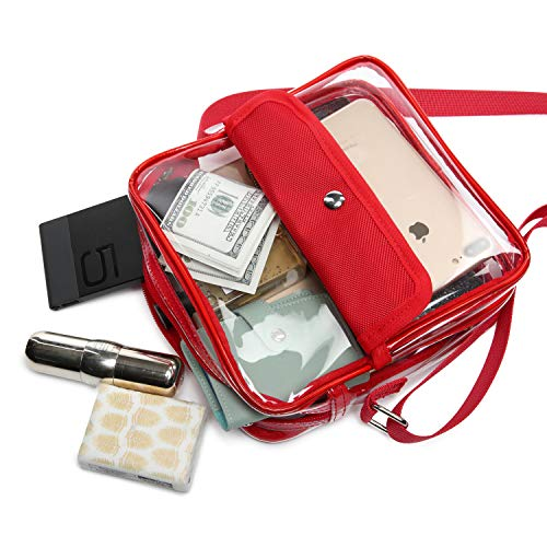 iSPECLE Clear Purse, Clear Stadium Bag Approved for Casino, NFL, PGA, NCAA, Adjustable 4.92ft Shoulder Strap for Women Girl, Red by iSPECLE (Image #6)