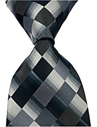 Men's Classic Checks Dark Blue Grey Jacquard Woven Silk Tie Necktie
