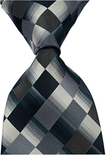 Secdtie Men's Classic Checks Purple Grey Jacquard Woven Silk Tie Necktie Black Grey