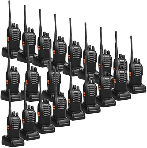 Retevis H-777 2 Way Radios Walkie Talkies Long Range,16CH Rechargeable Two Way Radios, Hand Free Walkie Talkies for Adults with USB Charging Base and Wall Adpter Black, 20 Pack