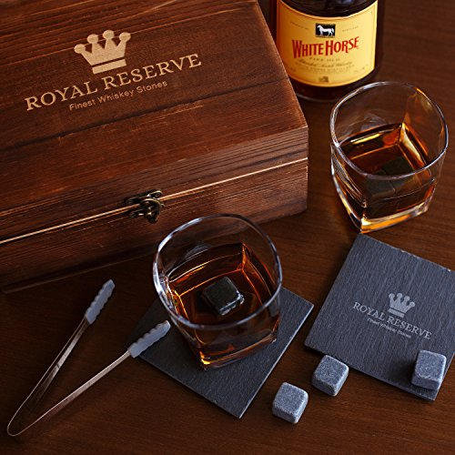 Whiskey Stones Gift Set by Royal Reserve   Husband Birthday Gifts Artisan Crafted Chilling Rocks Scotch Bourbon Glasses and Slate Table Coasters – Gift for Men Dad Boyfriend Anniversary or Retirement by Royal Reserve (Image #5)