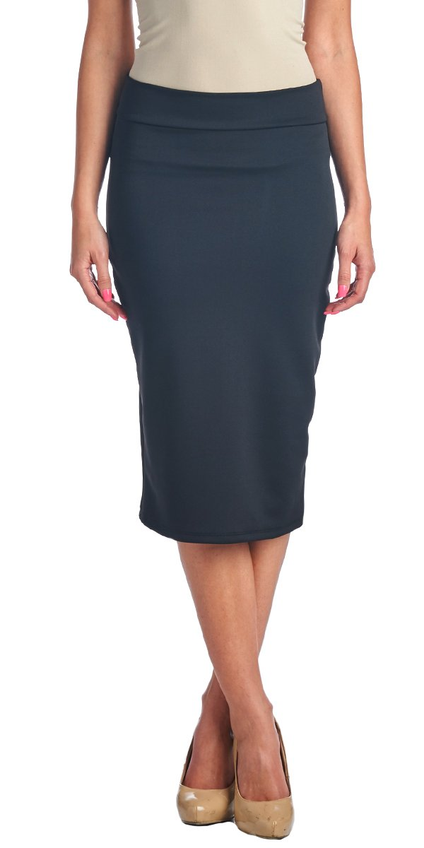 Popana Women's High Waist Knee Length Stretch Pencil Skirt - Ladies Shaping Midi Skirt For Work or Office - Made In USA Small Black
