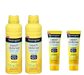 Neutrogena Beach Defense 2 pack Broad Spectrum SPF 70 Barrier Spray 6.5 oz each with 2 pack SPF 70 Lotion 1 oz each