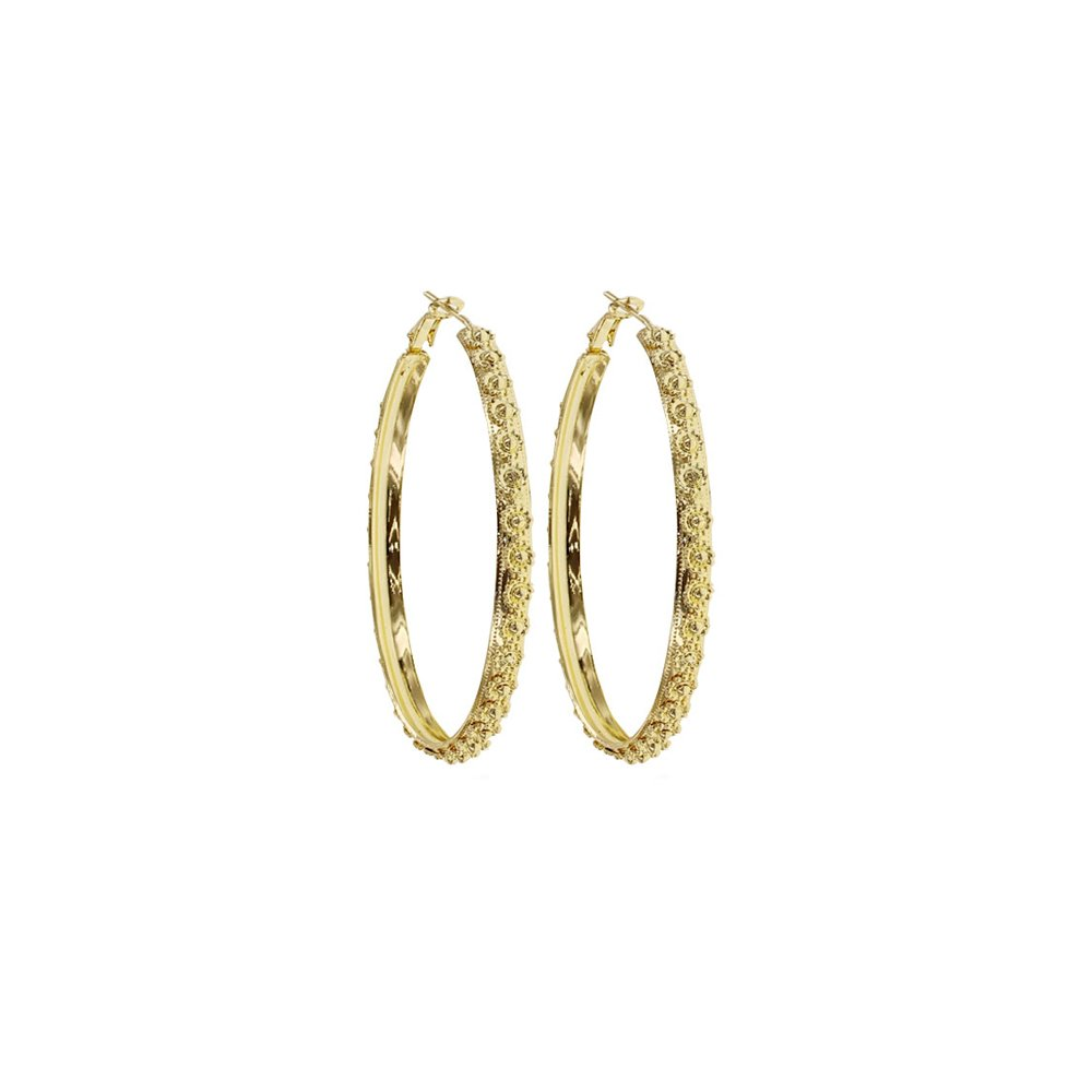 Circle Floral Design Gold Plated Hoops For Girls And Womens