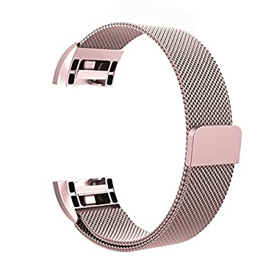 """Fitbit Charge 2 Bands Metal, Swees Milanese Loop Stainless Steel Replacement Accessories Magnetic Metal Small & Large Bands ( 5.5"""" - 9.9"""") for Fitbit Charge 2, Silver, Gold, Rose Gold, Black, Colorful by Swees"""