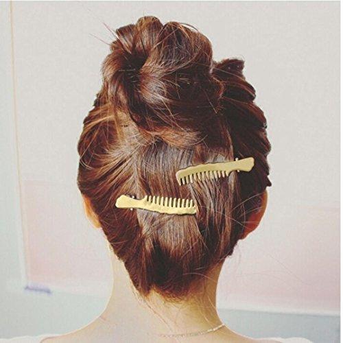 Staron 1Pair Women Hair Pins Clips Cute Comb Shape Headwear Accessories Headpiece (Gold) by Staron (Image #1)