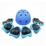 Kiwivalley Kids Boys and Girls Outdoor Sports Protective Gear Safety Pads Set [Helmet Knee Elbow Wrist] for Rollerblades, Scooter, Skateboard, Bicycle, Rollerblades (Blue)