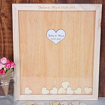 Amazon De Vintage Holz Hochzeit Gastebuch Rustikales Hochzeits
