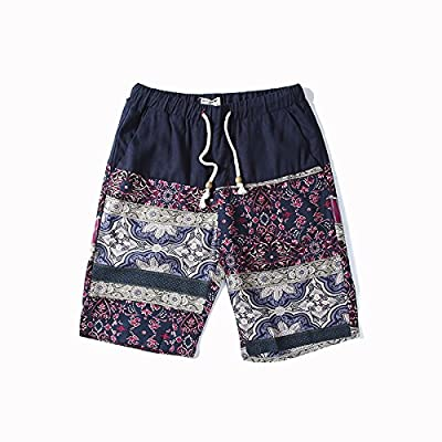 HAIYOUVK Summer Men'S Shorts Casual Linen Pants Large Size Loose National Wind Summer Pants Men'S Beach Pants