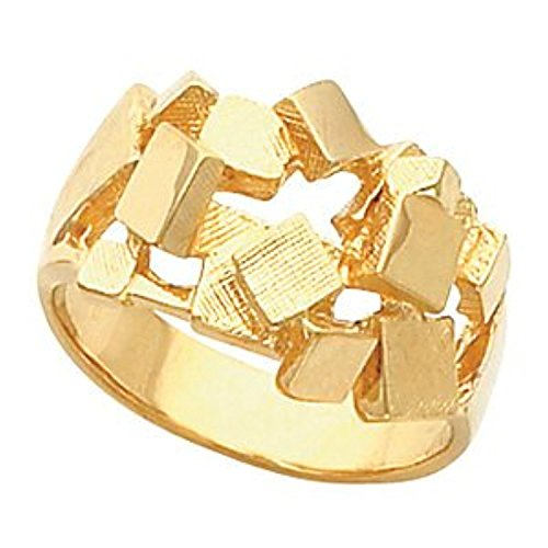 Yellow Gold Mens Nugget Mounting - Yellow Gold Men's Nugget Polished Ring Mounting