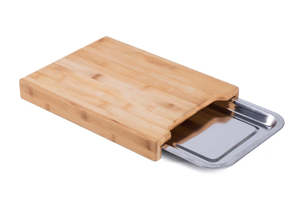 ANYO 100% ORGANIC MOSO Bamboo Cutting Board With Stainless Steel Tray for Kitchen,Eco-friendly Bamboo Chopping board with Drawer Tray by Anyo