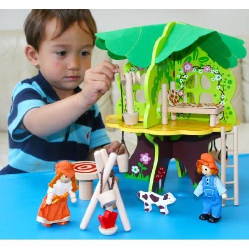 Toys of Wood Oxford Maison dans un arbre en bois - Livré avec des meubles, poupées et accessoires - jouet en bois pour 3 ans