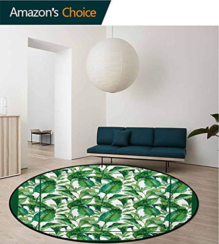 RUGSMAT Green Modern Washable Round Bath Mat,Large Tropical Leaves Pattern Jungle Beach Island Theme Party Inspried Design Art Non-Slip Bathroom Soft Floor Mat Home Decor,Round-59 Inch ()