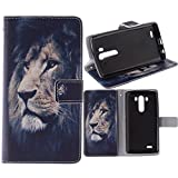 G3 Case, Jenny Shop Fashion Style PU Leather Stand Feather with 2 Built-in Card Slots, Money Pocket Flip Cover Magnetic Closure Cover Case ONLY for LG G3 5.5 Inch Screen Smartphone (Lion)