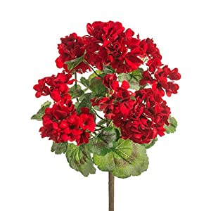 "Arcadia Silk Plantation 18"" UV Protected Geranium Bush Red (Pack of 12) 12"