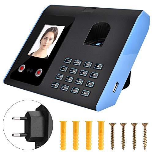 Fingerprint Time Clock, Biometric Intelligent Attendance Machine Face Fingerprint Recognition Password Time Clock Office Attendance Check(EU)