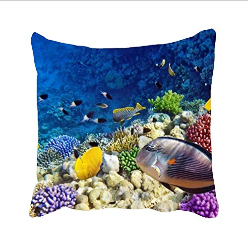 Ranhkdn Sea Fish Throw Pillow Cases Personalized Decorative Linen Cushion Cover Car Sofa Home 18 x 18 inch