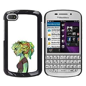 GOODTHINGS Funda Imagen Diseño Carcasa Tapa Trasera Negro Cover Skin Case para BlackBerry Q10 - Chica triste ogro verde profundo patito feo