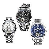 MonkeyJack 3 Pieces Luxury Mens Automatic Mechanical Quartz Wristwatch Waterproof Watch