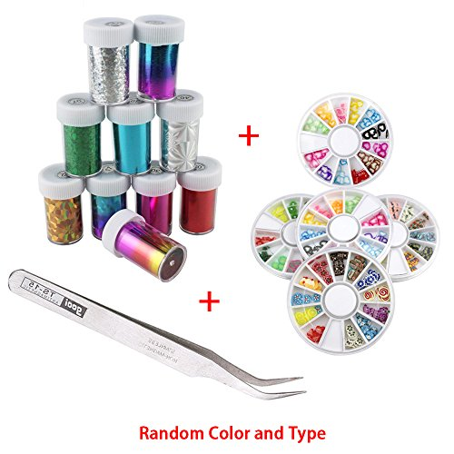 10 Rollers Starry Sky Nail Art Stickers Tips Wraps, Mixed Color Fashion Nail Art Design Glitter Acrylic Tips Decoration