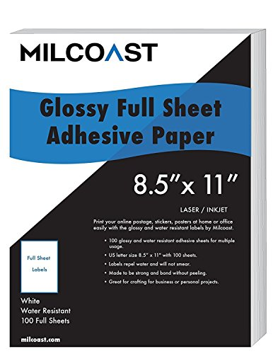 "Inkjet Full Sheet (Milcoast Full Sheet 8.5"" x 11"" Shipping Sticker Paper Adhesive Labels Glossy Water Resistant for Laser or InkJet Printer (100 Full Sheet))"