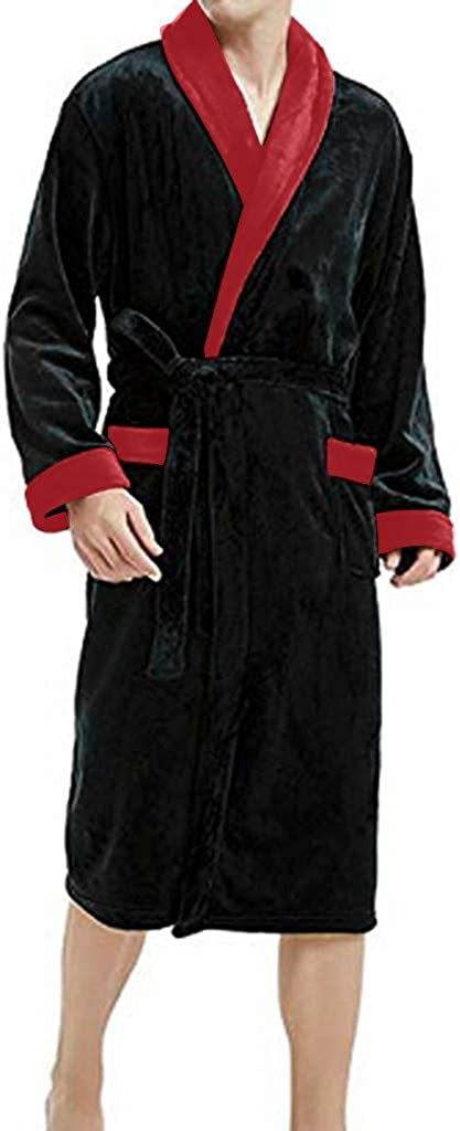 WINJUD Mens Robes Lengthened Warm Fleece Long Sleepwear Coralline Plush Shawl Kimono Pajamas