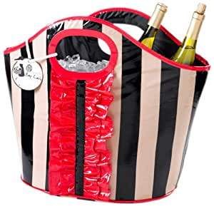 Mud Pie Black and Sand Stripe Ruffle Cooler Tote