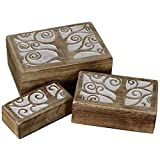 Handcrafted Tree of Life Wooden Boxes (Set of 3) Wood Rustic Jewelry Box Antique White RB-01 Review