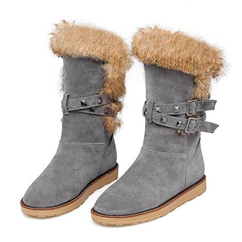 YE Damen Flache Schneestiefel Ankle Boots mit Fell und Schnallen Nieten Elegant Schuhe Grau