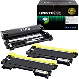 LINKYO Compatible Toner Cartridge and Drum Unit Set Replacement for Brother TN450 TN-450 DR420 DR-420 (2 Toner Cartridges