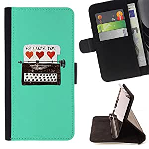Jordan Colourful Shop - typewriter hipster teal hearts love you For Sony Xperia Z2 D6502 - Leather Case Absorci???¡¯???€????€???????&